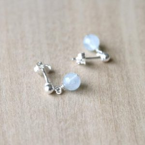 Natural Aquamarine Stud Earrings . March Birthstone Earrings Silver . Small Stone Earrings Stud | Natural genuine Gemstone earrings. Buy crystal jewelry, handmade handcrafted artisan jewelry for women.  Unique handmade gift ideas. #jewelry #beadedearrings #beadedjewelry #gift #shopping #handmadejewelry #fashion #style #product #earrings #affiliate #ad