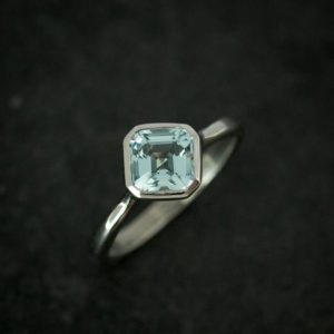 Asscher Aquamarine and White Gold and  Palladium, Asher cut Solitaire Ring, Custom Handcrafted 14k White Gold Engagement Ring, For Fiance | Natural genuine Array rings, simple unique alternative gemstone engagement rings. #rings #jewelry #bridal #wedding #jewelryaccessories #engagementrings #weddingideas #affiliate #ad