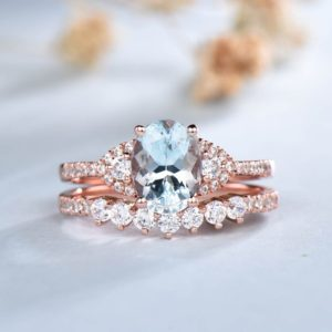 Natural Aquamarine Ring, Oval Aquamarine Engagement Ring, Aquamarine Wedding Ring Set, Rose Gold Rings, Dainty Stacking Ring, Bridal Set | Natural genuine Gemstone rings, simple unique alternative gemstone engagement rings. #rings #jewelry #bridal #wedding #jewelryaccessories #engagementrings #weddingideas #affiliate #ad