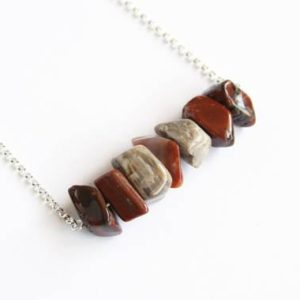 Shop Petrified Wood Necklaces! Arizona Petrified Wood Necklace Natural AZ Agatized Wood Fossilized Wood Jasper Black Brown Brick Red Large Chunky Nugget Chips Stone #17580 | Natural genuine Petrified Wood necklaces. Buy crystal jewelry, handmade handcrafted artisan jewelry for women.  Unique handmade gift ideas. #jewelry #beadednecklaces #beadedjewelry #gift #shopping #handmadejewelry #fashion #style #product #necklaces #affiliate #ad