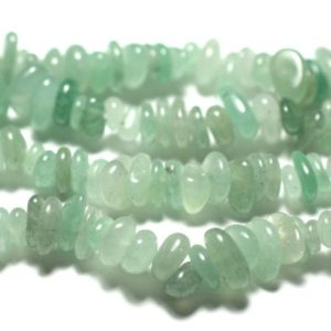 Shop Aventurine Chip & Nugget Beads! Thread 89cm 300pc Env-stone Beads-aventurine Green Rocailles Chips 4-10mm | Natural genuine chip Aventurine beads for beading and jewelry making.  #jewelry #beads #beadedjewelry #diyjewelry #jewelrymaking #beadstore #beading #affiliate #ad