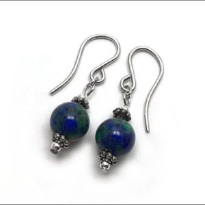 Shop Azurite Earrings! Azurite Earrings – Azurite with Sterling Silver Bali-Style spacer beads – Size Options: 6mm, 8mm or 10mm | Natural genuine Azurite earrings. Buy crystal jewelry, handmade handcrafted artisan jewelry for women.  Unique handmade gift ideas. #jewelry #beadedearrings #beadedjewelry #gift #shopping #handmadejewelry #fashion #style #product #earrings #affiliate #ad
