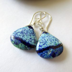Shop Azurite Earrings! Azurite Malachite Sterling Silver Earrings ~ Colorful Gemstone Dangles ~ Southwestern Dainty One of A Kind Earrings | Natural genuine Azurite earrings. Buy crystal jewelry, handmade handcrafted artisan jewelry for women.  Unique handmade gift ideas. #jewelry #beadedearrings #beadedjewelry #gift #shopping #handmadejewelry #fashion #style #product #earrings #affiliate #ad