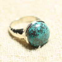 N120 – 925 Sterling Silver Ring And Stone – Azurite Round 15mm | Natural genuine Gemstone jewelry. Buy crystal jewelry, handmade handcrafted artisan jewelry for women.  Unique handmade gift ideas. #jewelry #beadedjewelry #beadedjewelry #gift #shopping #handmadejewelry #fashion #style #product #jewelry #affiliate #ad