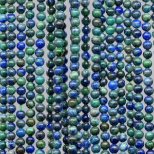 Shop Azurite Beads! Natural Azurite Loose Beads Round Shape 4mm | Natural genuine beads Azurite beads for beading and jewelry making.  #jewelry #beads #beadedjewelry #diyjewelry #jewelrymaking #beadstore #beading #affiliate #ad