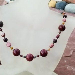 Shop Mookaite Jasper Necklaces! Beaded Mookaite Jasper necklace with Bali silver accent pieces, sterling silver spacers and a magnetic clasp. 18-inch length | Natural genuine Mookaite Jasper necklaces. Buy crystal jewelry, handmade handcrafted artisan jewelry for women.  Unique handmade gift ideas. #jewelry #beadednecklaces #beadedjewelry #gift #shopping #handmadejewelry #fashion #style #product #necklaces #affiliate #ad
