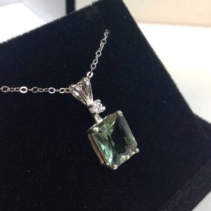 """Shop Green Amethyst Jewelry! BEAUTIFUL 3ct Green Amethyst Prasiolite Sterling Silver & White Sapphire Emerald Cut Pendant Necklace 18"""" Gift Jewelry Holiday Trends 