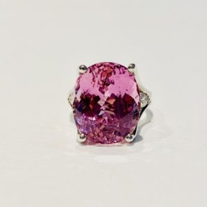 Shop Kunzite Rings! BESPOKE 18ct Pink Kunzite Ring Oval Kunzite and Pear Cut Diamond  in 18ct White Gold | Natural genuine Kunzite rings, simple unique handcrafted gemstone rings. #rings #jewelry #shopping #gift #handmade #fashion #style #affiliate #ad