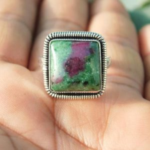 Shop Ruby Zoisite Rings! Best Ruby Zoisite Ring* Sterling Silver Ring*handmade ring* Ruby Zoisite Jewellery* stone ring* Statement Ring* Boho Ring* Antique Ring*M29 | Natural genuine Ruby Zoisite rings, simple unique handcrafted gemstone rings. #rings #jewelry #shopping #gift #handmade #fashion #style #affiliate #ad