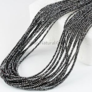 Shop Black Diamond Beads! Black Diamond Faceted Rondelle Beads AAA+ 2.3 – 2.7 mm Natural Black Diamond Beads Strand Black Diamond Rondelle | Natural genuine beads Diamond beads for beading and jewelry making.  #jewelry #beads #beadedjewelry #diyjewelry #jewelrymaking #beadstore #beading #affiliate #ad