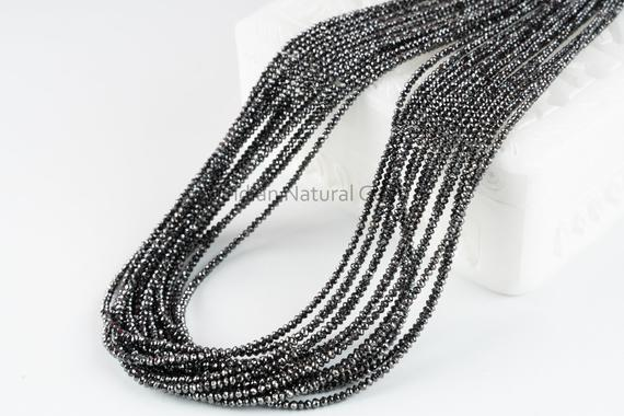 Black Diamond Faceted Rondelle Beads Aaa+ 2.3 - 2.7 Mm Natural Black Diamond Beads Strand Black Diamond Rondelle Necklace