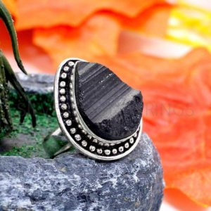 Shop Black Tourmaline Rings! Black Tourmaline Ring – Raw Tourmaline 20x15mm Pear Gemstone Sterling Silver Oxidized Ring – 925 Ring – October Birthstone Ring – Boho Rings | Natural genuine Black Tourmaline rings, simple unique handcrafted gemstone rings. #rings #jewelry #shopping #gift #handmade #fashion #style #affiliate #ad