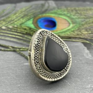 Shop Black Tourmaline Rings! Black tourmaline ring Tribal tribal ring Kochi of Afghanistan Ring of Great Declaration | Natural genuine Black Tourmaline rings, simple unique handcrafted gemstone rings. #rings #jewelry #shopping #gift #handmade #fashion #style #affiliate #ad