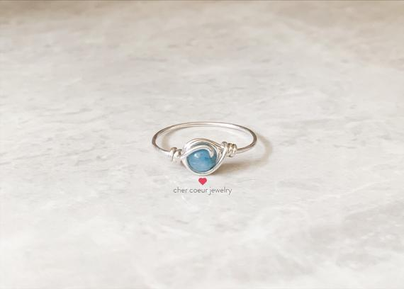 Blue Angelite Ring, Handmade Sterling Silver Wire Wrapped Jewelry For Her, Stacking Healing Crystal Gemstone Ring For Women