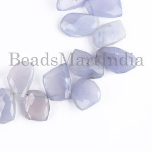 Shop Blue Chalcedony Beads! Extremely Rare Blue Chalcedony Faceted Nugget Beads, Natural Chalcedony Beads, Chalcedony Faceted Beads, Blue Chalcedony Nuggets Beads | Natural genuine chip Blue Chalcedony beads for beading and jewelry making.  #jewelry #beads #beadedjewelry #diyjewelry #jewelrymaking #beadstore #beading #affiliate #ad