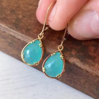 Blue Chalcedony Earrings, Aqua Blue Teardrop Earrings In Gold Or Silver, Dangle Summer Jewelry, Boho Drop Earrings, Mother's Day Gift Ideas | Natural genuine Gemstone jewelry. Buy crystal jewelry, handmade handcrafted artisan jewelry for women.  Unique handmade gift ideas. #jewelry #beadedjewelry #beadedjewelry #gift #shopping #handmadejewelry #fashion #style #product #jewelry #affiliate #ad
