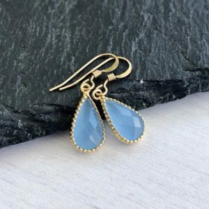 Shop Blue Chalcedony Earrings! Blue Chalcedony Earrings, Cobalt Blue Teardrop Earrings, Dainty Dangle Drops, Tiny Everyday Silver Earrings, Something Blue, Gift under 30 | Natural genuine Blue Chalcedony earrings. Buy crystal jewelry, handmade handcrafted artisan jewelry for women.  Unique handmade gift ideas. #jewelry #beadedearrings #beadedjewelry #gift #shopping #handmadejewelry #fashion #style #product #earrings #affiliate #ad