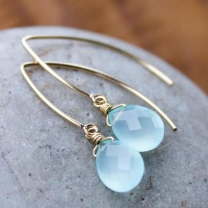 Shop Blue Chalcedony Earrings! Gold Aqua Blue Chalcedony Gemstone Earrings – Gold Filled | Natural genuine Blue Chalcedony earrings. Buy crystal jewelry, handmade handcrafted artisan jewelry for women.  Unique handmade gift ideas. #jewelry #beadedearrings #beadedjewelry #gift #shopping #handmadejewelry #fashion #style #product #earrings #affiliate #ad