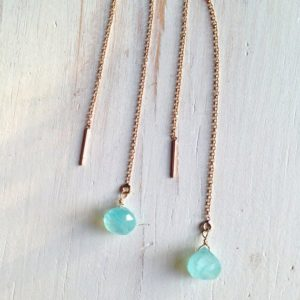 Shop Blue Chalcedony Jewelry! Tiny Blue Chalcedony Tear Drop Chain Earrings | Natural genuine Blue Chalcedony jewelry. Buy crystal jewelry, handmade handcrafted artisan jewelry for women.  Unique handmade gift ideas. #jewelry #beadedjewelry #beadedjewelry #gift #shopping #handmadejewelry #fashion #style #product #jewelry #affiliate #ad