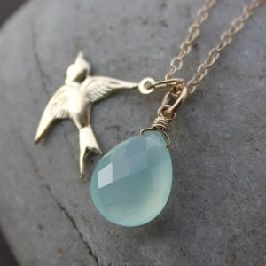 Aqua Blue Chalcedony and Sparrow Charm Necklace – 14KT Gold Fill | Natural genuine Blue Chalcedony necklaces. Buy crystal jewelry, handmade handcrafted artisan jewelry for women.  Unique handmade gift ideas. #jewelry #beadednecklaces #beadedjewelry #gift #shopping #handmadejewelry #fashion #style #product #necklaces #affiliate #ad
