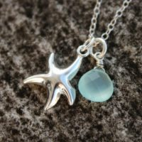 Silver Starfish Charm Necklace, Aqua Blue Chalcedony Teardrop, Sterling Silver | Natural genuine Gemstone jewelry. Buy crystal jewelry, handmade handcrafted artisan jewelry for women.  Unique handmade gift ideas. #jewelry #beadedjewelry #beadedjewelry #gift #shopping #handmadejewelry #fashion #style #product #jewelry #affiliate #ad