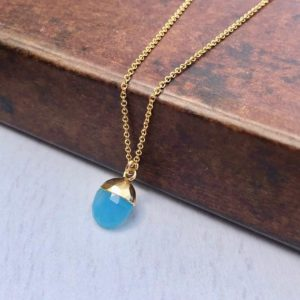 Shop Blue Chalcedony Pendants! Cobalt Chalcedony Necklace, Dainty Gold Necklace, Blue Chalcedony Pendant, Blue Oval Charm, Minimalist Jewelry, Delicate Mother's Day Gift | Natural genuine Blue Chalcedony pendants. Buy crystal jewelry, handmade handcrafted artisan jewelry for women.  Unique handmade gift ideas. #jewelry #beadedpendants #beadedjewelry #gift #shopping #handmadejewelry #fashion #style #product #pendants #affiliate #ad
