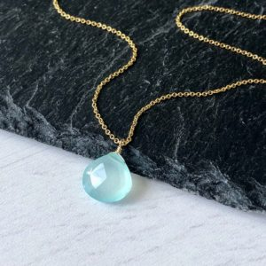 Blue Chalcedony Necklace, Aqua Teardrop Pendant, Minimalist Layering Necklace, Aqua Drop Pendant in Gold or Silver chain, Blue Gift for her | Natural genuine Blue Chalcedony pendants. Buy crystal jewelry, handmade handcrafted artisan jewelry for women.  Unique handmade gift ideas. #jewelry #beadedpendants #beadedjewelry #gift #shopping #handmadejewelry #fashion #style #product #pendants #affiliate #ad