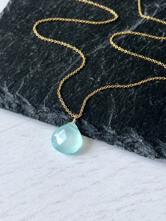 Blue Chalcedony Necklace, Aqua Teardrop Pendant, Minimalist Layering Necklace, Aqua Drop Pendant In Gold Or Silver Chain, Blue Gift For Her