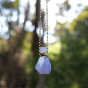 Blue Chalcedony Perfume Bottle Necklace | Essential Oil Crystal Pendant | Natural genuine Blue Chalcedony pendants. Buy crystal jewelry, handmade handcrafted artisan jewelry for women.  Unique handmade gift ideas. #jewelry #beadedpendants #beadedjewelry #gift #shopping #handmadejewelry #fashion #style #product #pendants #affiliate #ad