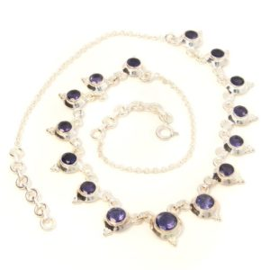 Shop Iolite Necklaces! Blue gemstone iolite necklace, 925 sterling silver, natural iolite stone, water sapphire necklace faceted, birthstone healing stone for her | Natural genuine Iolite necklaces. Buy crystal jewelry, handmade handcrafted artisan jewelry for women.  Unique handmade gift ideas. #jewelry #beadednecklaces #beadedjewelry #gift #shopping #handmadejewelry #fashion #style #product #necklaces #affiliate #ad