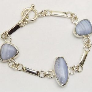 Shop Blue Lace Agate Bracelets! Blue Lace Agate And Sterling Silver Three Stone Link Bracelet, Size 6-3 / 8 Bblaj3333 | Natural genuine Blue Lace Agate bracelets. Buy crystal jewelry, handmade handcrafted artisan jewelry for women.  Unique handmade gift ideas. #jewelry #beadedbracelets #beadedjewelry #gift #shopping #handmadejewelry #fashion #style #product #bracelets #affiliate #ad