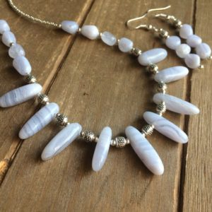 Shop Blue Lace Agate Necklaces! Blue lace agate necklace set earrings handmade stone boho necklace set silver stone chakra 18 necklace gift unique jewelry set for women SLD | Natural genuine Blue Lace Agate necklaces. Buy crystal jewelry, handmade handcrafted artisan jewelry for women.  Unique handmade gift ideas. #jewelry #beadednecklaces #beadedjewelry #gift #shopping #handmadejewelry #fashion #style #product #necklaces #affiliate #ad