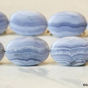 XL/ Blue Lace Agate 23x37mm/ 20x30mm Flat Oval Beads 15.5 inches long Beautiful Banded Agate Large Size Flat Oval For Crafts Jewelry Making | Natural genuine other-shape Gemstone beads for beading and jewelry making.  #jewelry #beads #beadedjewelry #diyjewelry #jewelrymaking #beadstore #beading #affiliate #ad
