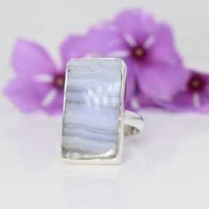 Shop Blue Lace Agate Rings! Blue Lace Agate Ring, Artisan Ring, Designer Ring, Blue Lace Agate Jewelry, Gemstone Jewelry, Boho Ring, Gypsy Ring, Gift For Sis, Mom, Wife   Natural genuine Blue Lace Agate rings, simple unique handcrafted gemstone rings. #rings #jewelry #shopping #gift #handmade #fashion #style #affiliate #ad