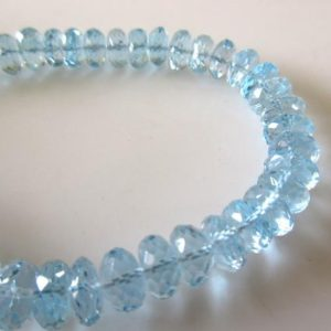 Shop Topaz Rondelle Beads! Blue Topaz Rondelle Beads, 7mm Blue Topaz Rondelles, Natural Blue Topaz Loose Faceted Rondelle Beads, 9 Inch Strand, GDS1136 | Natural genuine rondelle Topaz beads for beading and jewelry making.  #jewelry #beads #beadedjewelry #diyjewelry #jewelrymaking #beadstore #beading #affiliate #ad