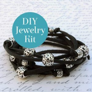 Shop Jewelry Making Kits! Boho Leather Wrap Bracelet Kit In Black – DIY Bracelet Kit With Online Video Tutorial | Shop jewelry making and beading supplies, tools & findings for DIY jewelry making and crafts. #jewelrymaking #diyjewelry #jewelrycrafts #jewelrysupplies #beading #affiliate #ad