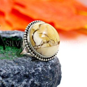 Shop Mookaite Jasper Rings! Brecciated Mookaite Jasper – Mookaite 18mm Round Cabochon Gemstone Sterling Silver Split Band Ring – Christmas Sale – Silver Designer Ring | Natural genuine Mookaite Jasper rings, simple unique handcrafted gemstone rings. #rings #jewelry #shopping #gift #handmade #fashion #style #affiliate #ad