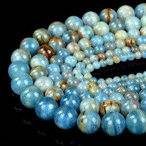 Natural Argentina Lemurian Aquatine Calcite, Blue Onyx Grade AA Round 4MM 5MM 6MM 7MM 8MM 9MM 10MM 11MM 12MM 13MM 14MM Beads (D51 D52 D53) | Natural genuine round Gemstone beads for beading and jewelry making.  #jewelry #beads #beadedjewelry #diyjewelry #jewelrymaking #beadstore #beading #affiliate #ad