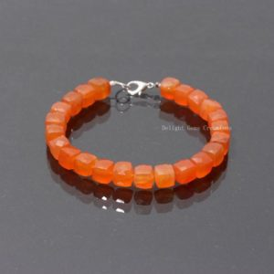 Shop Carnelian Bracelets! AAA Quality Carnelian Faceted Square Box Beaded Bracelet-Faceted Carnelian Cube Beads-Orange Minerals Stone-8 inch Bracelet-CARNELIAN JEWLRY | Natural genuine Carnelian bracelets. Buy crystal jewelry, handmade handcrafted artisan jewelry for women.  Unique handmade gift ideas. #jewelry #beadedbracelets #beadedjewelry #gift #shopping #handmadejewelry #fashion #style #product #bracelets #affiliate #ad