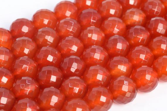 Genuine Natural Red Carnelian Loose Beads Micro Faceted Round Shape 8mm 10mm