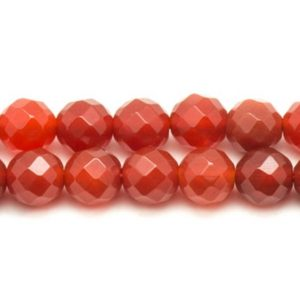Shop Carnelian Faceted Beads! Stone – carnelian beads 1 strand 39cm 10mm faceted balls | Natural genuine faceted Carnelian beads for beading and jewelry making.  #jewelry #beads #beadedjewelry #diyjewelry #jewelrymaking #beadstore #beading #affiliate #ad