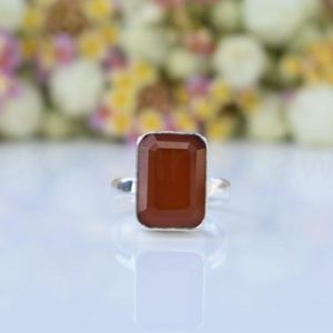 Shop Carnelian Rings! Orange Carnelian Stone Ring, Sterling Silver Ring, Cushion Stone, Statement Ring, Faceted Gemstone, Silver Band Ring, Natural Gemstone, Boho | Natural genuine Carnelian rings, simple unique handcrafted gemstone rings. #rings #jewelry #shopping #gift #handmade #fashion #style #affiliate #ad
