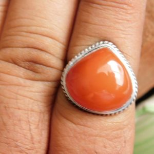 Shop Carnelian Rings! Carnelian Ring, sterling silver ring, gemstone ring, Orange Carnelian Ring, gift Ring,men's ring, boho ring, gift for her, A96 | Natural genuine Carnelian rings, simple unique handcrafted gemstone rings. #rings #jewelry #shopping #gift #handmade #fashion #style #affiliate #ad