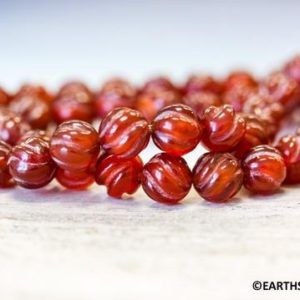 Shop Carnelian Round Beads! M/ Dyed Carnelian 8mm S-Corrugated Round Bead 15 inches long Special Nice Cut  More Wholesales beads @EARTHSTONE.COM | Natural genuine round Carnelian beads for beading and jewelry making.  #jewelry #beads #beadedjewelry #diyjewelry #jewelrymaking #beadstore #beading #affiliate #ad