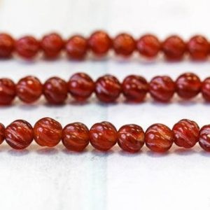 """Shop Carnelian Round Beads! S/ Carnelian 6mm/ 5mm S-Corrugated Round Beads 15"""" strand Dyed Red carnelian gemstone beads Special Nice Cut For jewelry making 