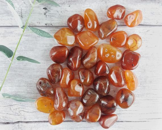 Carnelian Tumbled Stones, Reiki Infused Wire Wrapping Spiritual Stones