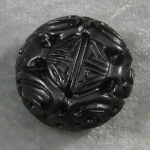 """Carved Jet Lignite 25mm x 15.5mm 1"""" x 5/8"""" Flat Round Loose Bead Longevity Deep Black Mongolia High Polish Black Amber 