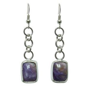 Shop Charoite Earrings! Charoite Earrings set in Sterling Silver  echte3301 | Natural genuine Charoite earrings. Buy crystal jewelry, handmade handcrafted artisan jewelry for women.  Unique handmade gift ideas. #jewelry #beadedearrings #beadedjewelry #gift #shopping #handmadejewelry #fashion #style #product #earrings #affiliate #ad