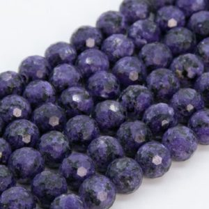 Shop Charoite Beads! Deep Purple Charoite Loose Beads Grade A Micro Faceted Round Shape 8mm | Natural genuine beads Charoite beads for beading and jewelry making.  #jewelry #beads #beadedjewelry #diyjewelry #jewelrymaking #beadstore #beading #affiliate #ad