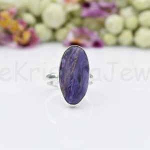 Shop Charoite Rings! Purple Charoite Ring, Sterling Silver Ring, Long Oval Shape Ring, Simple Band Ring, Cabochon Gemstone, Statement Ring, Dainty Ring, Boho | Natural genuine Charoite rings, simple unique handcrafted gemstone rings. #rings #jewelry #shopping #gift #handmade #fashion #style #affiliate #ad